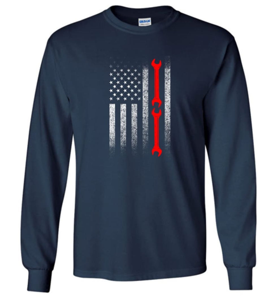 American Mechanic Flag Shirt - Long Sleeve T-Shirt - Navy / M