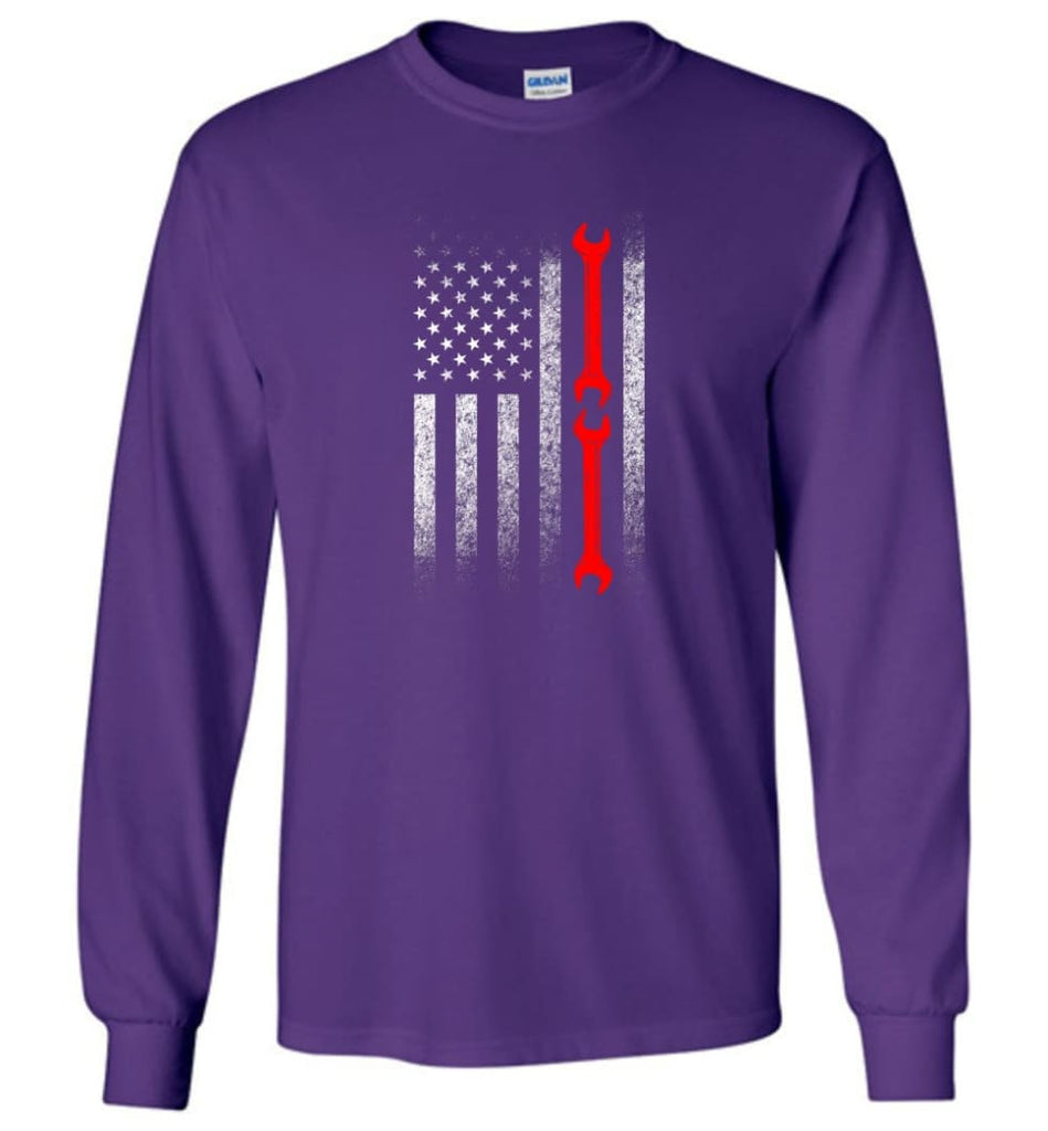 American Mechanic Flag Shirt - Long Sleeve T-Shirt - Purple / M