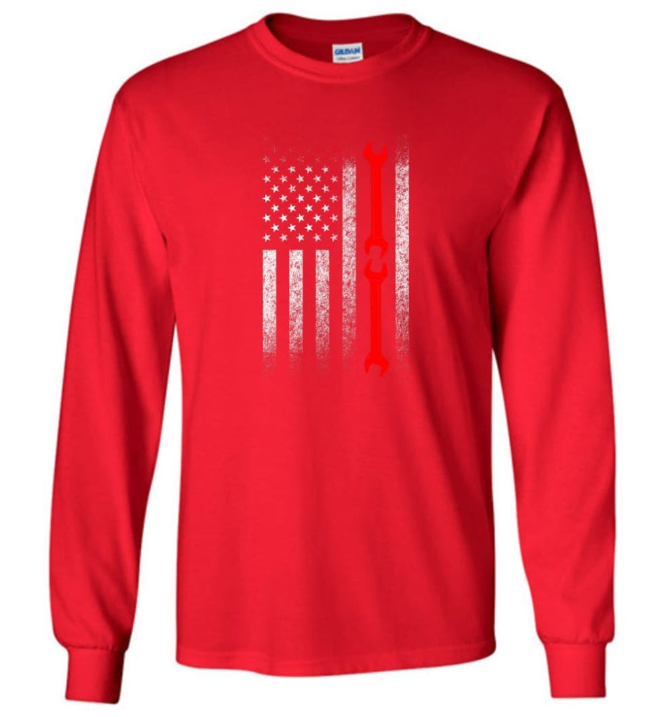 American Mechanic Flag Shirt - Long Sleeve T-Shirt - Red / M