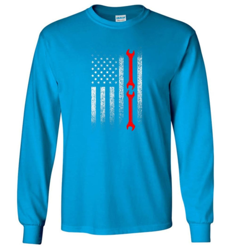 American Mechanic Flag Shirt - Long Sleeve T-Shirt - Sapphire / M