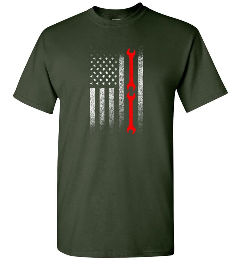 American Mechanic Flag Shirt - Short Sleeve T-Shirt - Forest Green / S