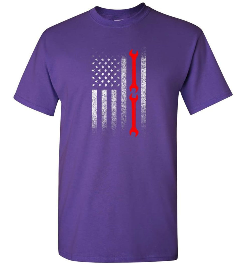 American Mechanic Flag Shirt - Short Sleeve T-Shirt - Purple / S