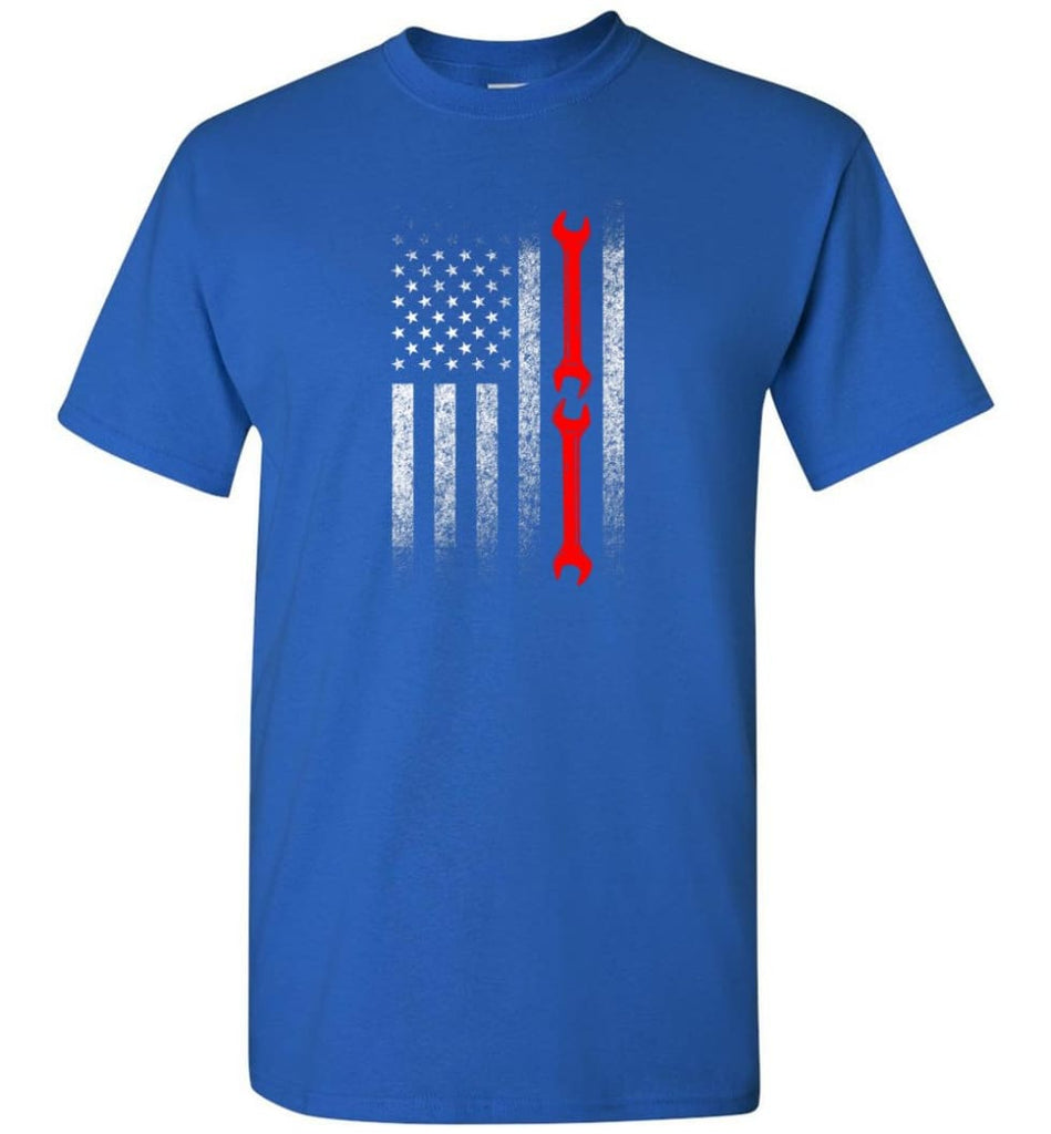 American Mechanic Flag Shirt - Short Sleeve T-Shirt - Royal / S