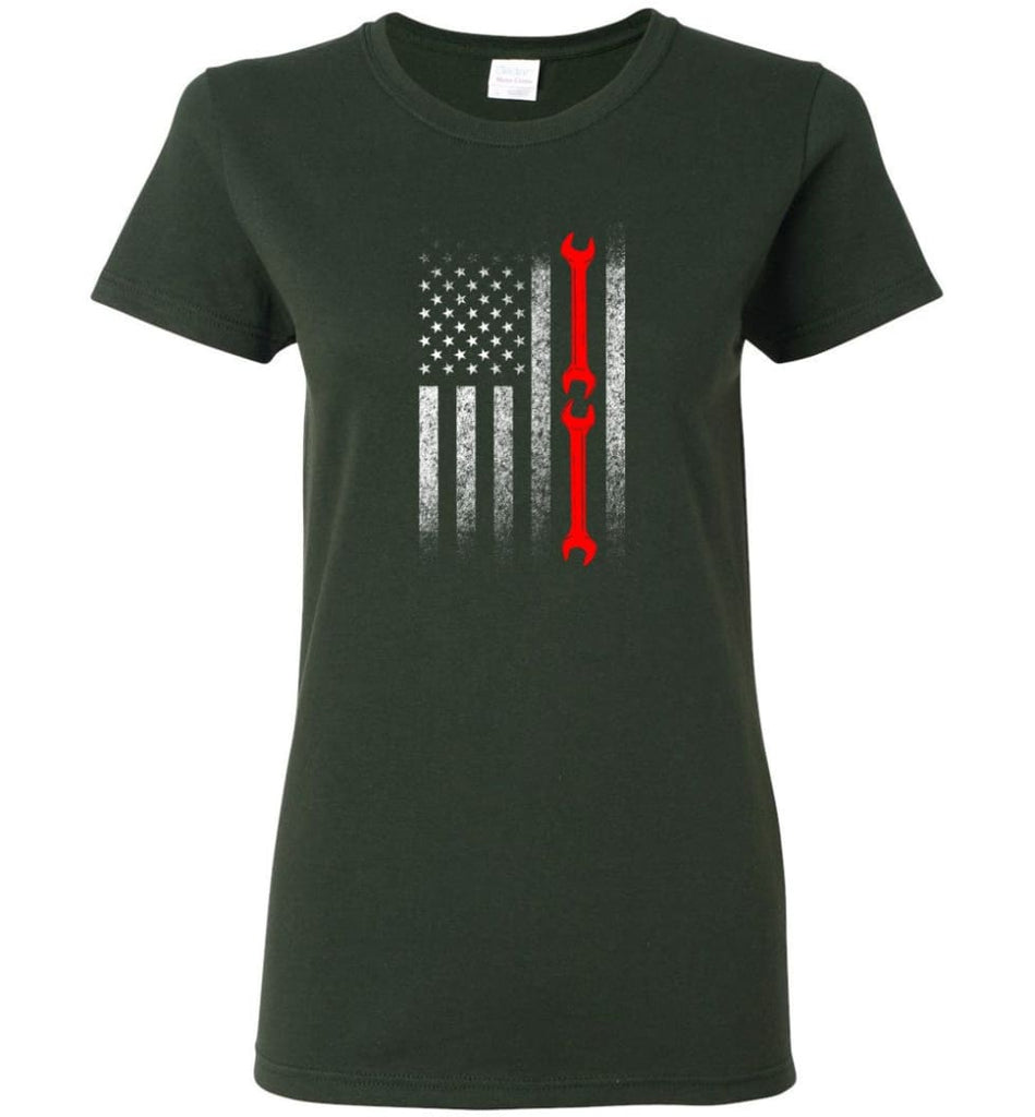 American Mechanic Flag Shirt Women Tee - Forest Green / M