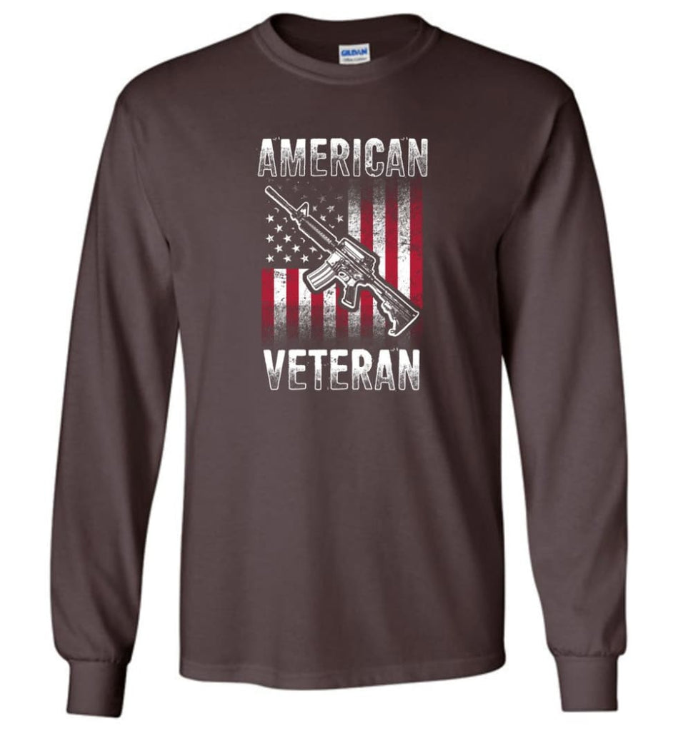 American Veteran Shirt - Long Sleeve T-Shirt - Dark Chocolate / M