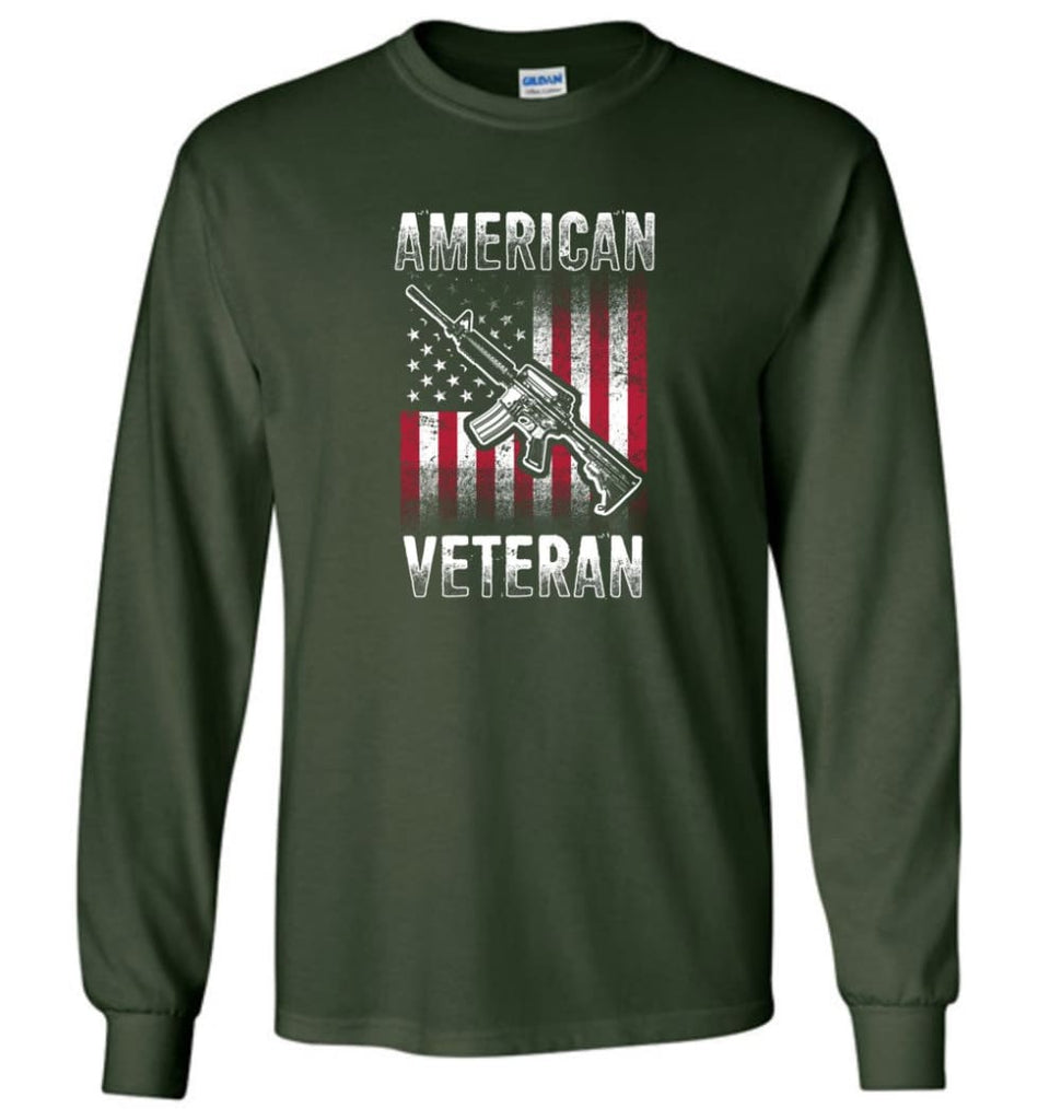 American Veteran Shirt - Long Sleeve T-Shirt - Forest Green / M