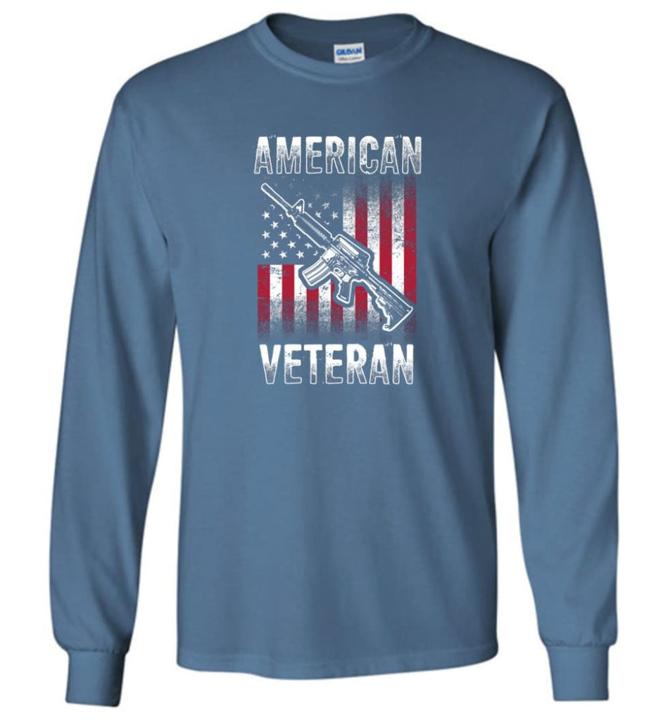 American Veteran Shirt - Long Sleeve T-Shirt - Indigo Blue / M