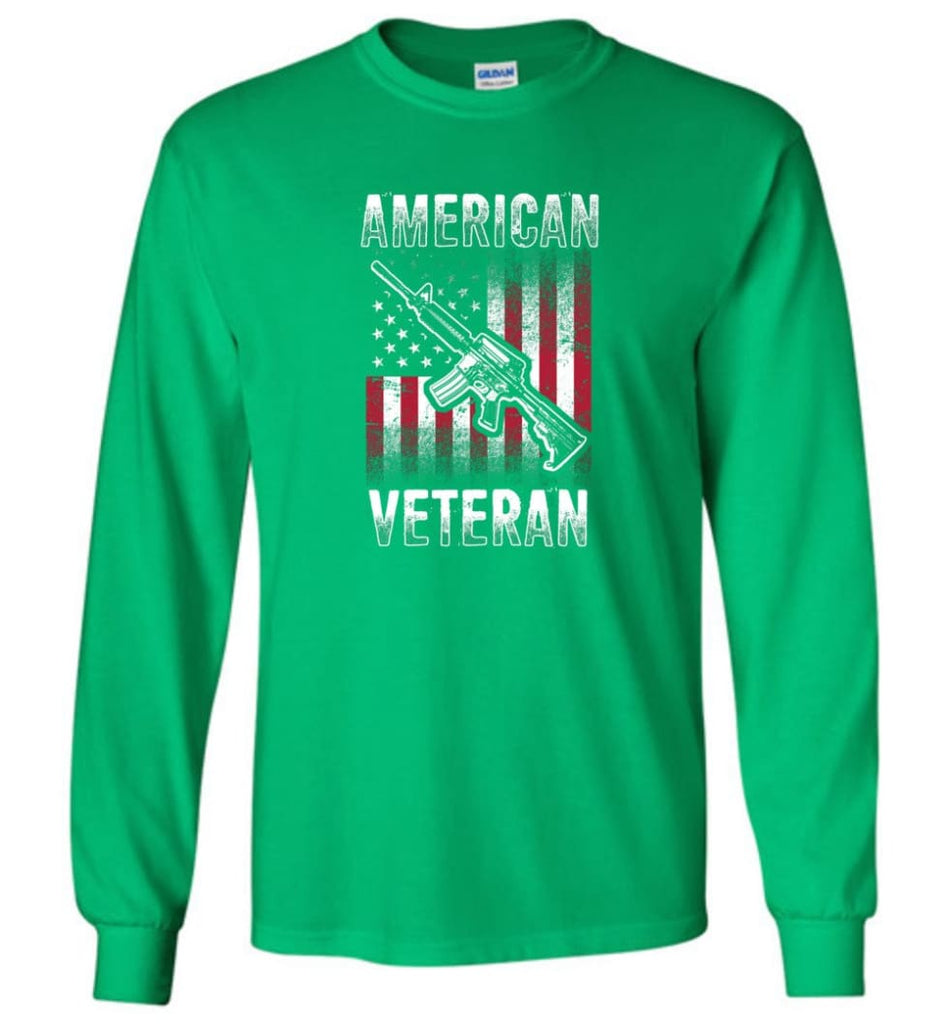 American Veteran Shirt - Long Sleeve T-Shirt - Irish Green / M