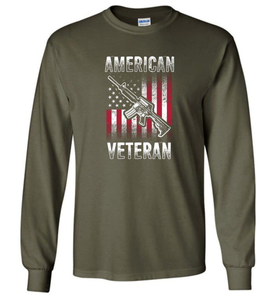 American Veteran Shirt - Long Sleeve T-Shirt - Military Green / M