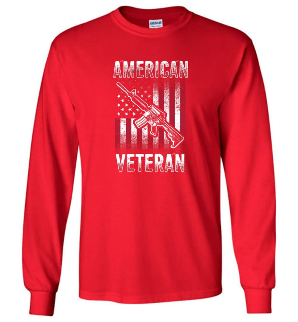 American Veteran Shirt - Long Sleeve T-Shirt - Red / M