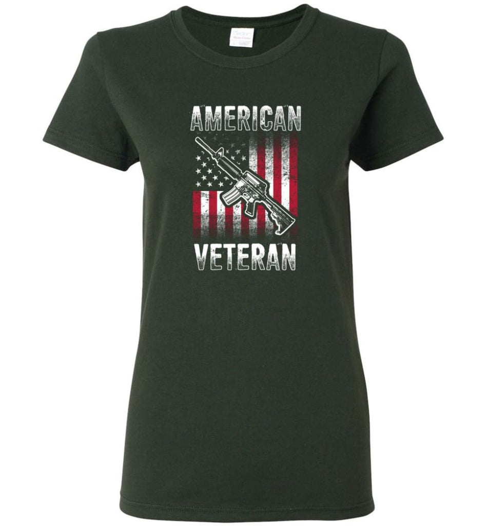 American Veteran Shirt Women Tee - Forest Green / M
