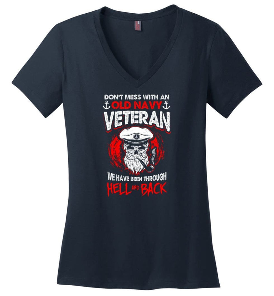 And God Said Let There Be U.S. Army Veteran Shirt Ladies V-Neck - Navy / M