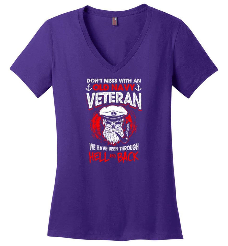 And God Said Let There Be U.S. Army Veteran Shirt Ladies V-Neck - Purple / M