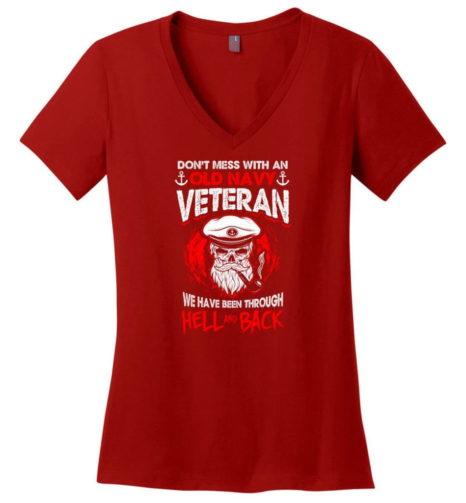 And God Said Let There Be U.S. Army Veteran Shirt Ladies V-Neck - Red / M