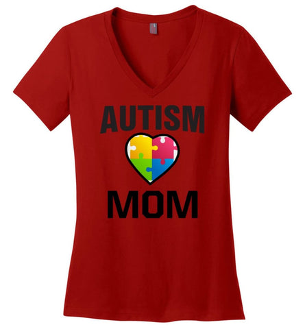 Autism Awareness Shirt Proud Autism Mom Mother Mommy - Ladies V-Neck - Red / M