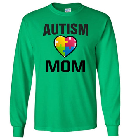 Autism Awareness Shirt Proud Autism Mom Mother Mommy - Long Sleeve T-Shirt - Irish Green / M