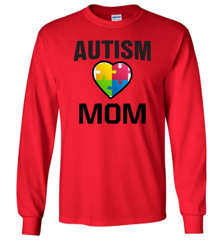 Autism Awareness Shirt Proud Autism Mom Mother Mommy - Long Sleeve T-Shirt - Red / M