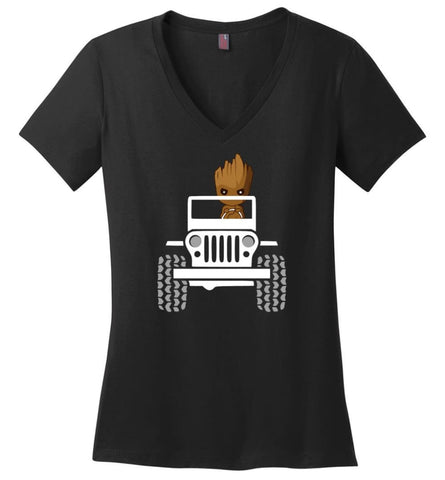 Baby Groot Drive A Jeep - Ladies V-Neck - Black / M - Ladies V-Neck