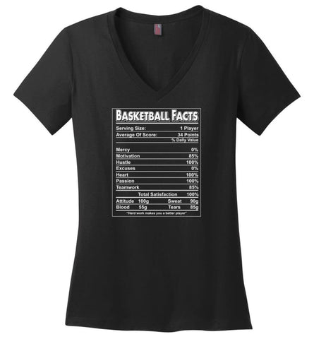 Basketball Facts T shirt Basketball label funny define for Players - Ladies V-Neck - Black / M