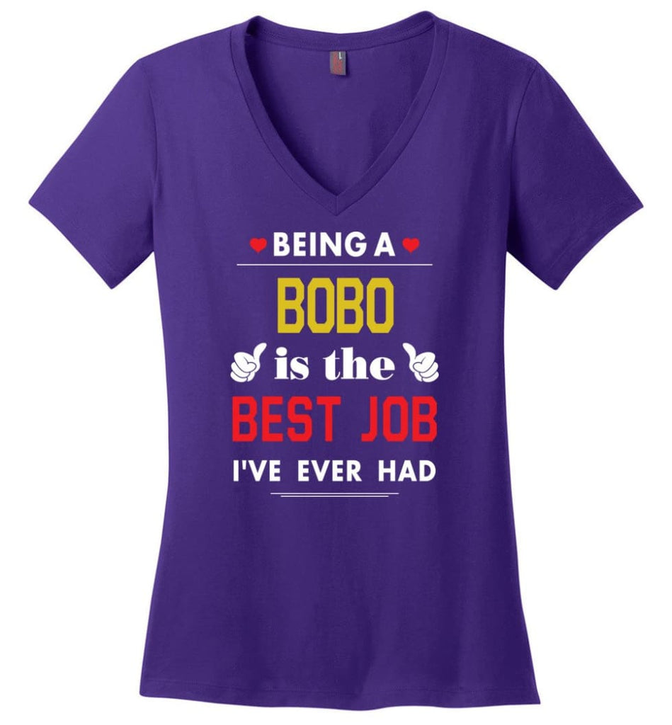 Being A Bobo Is The Best Job Gift For Grandparents Ladies V-Neck - Purple / M