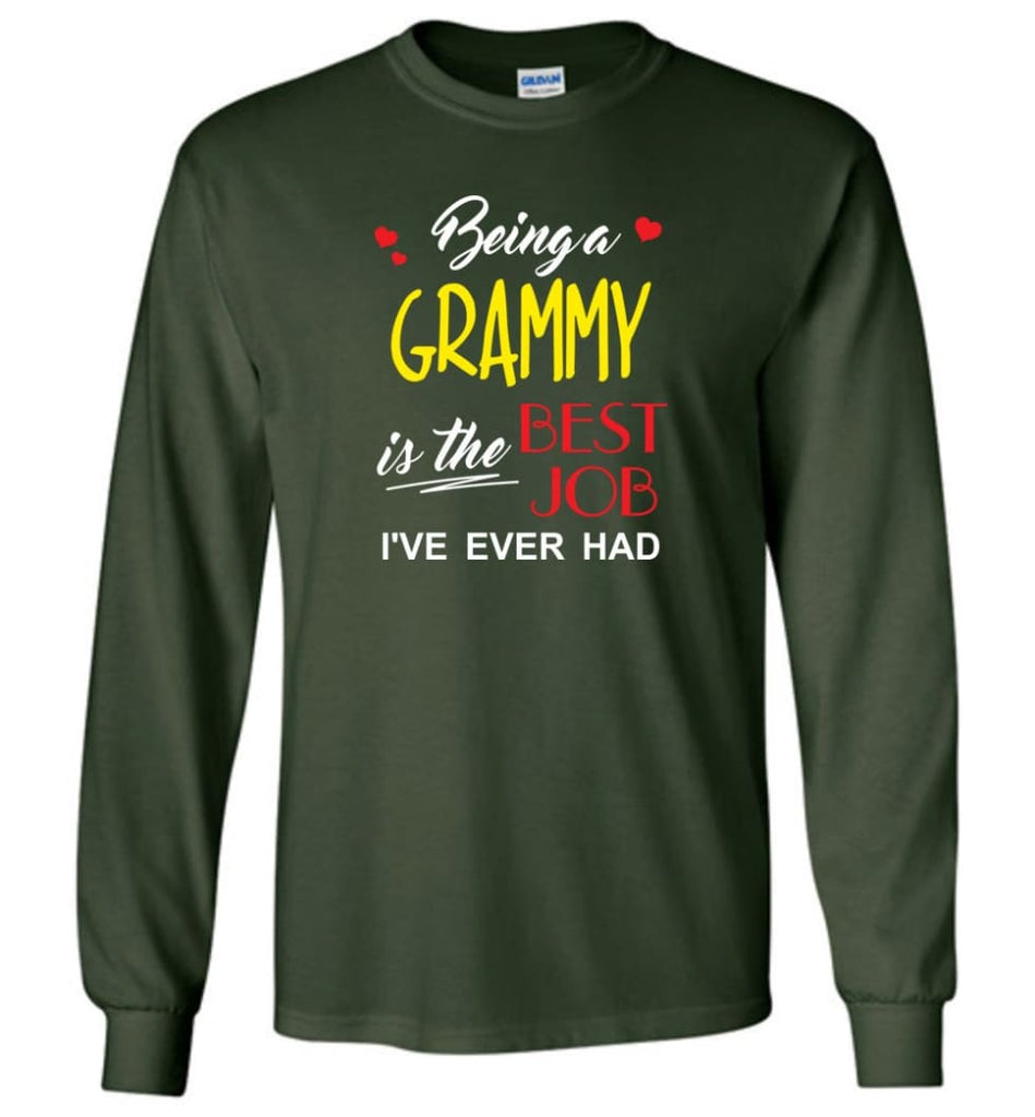Being A G Is The Best Job Gift For Grandparents Long Sleeve T-Shirt - Forest Green / M