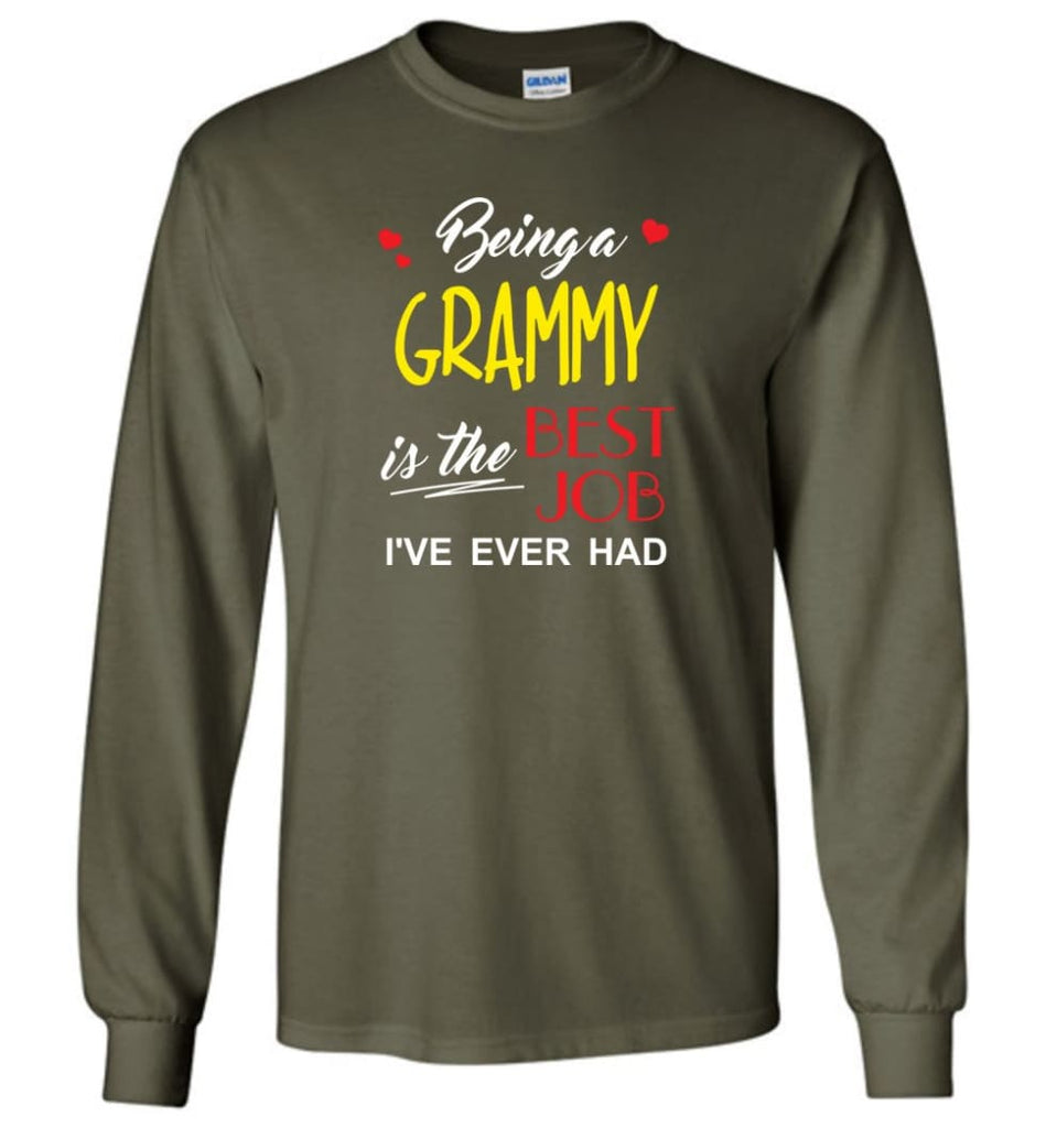 Being A G Is The Best Job Gift For Grandparents Long Sleeve T-Shirt - Military Green / M