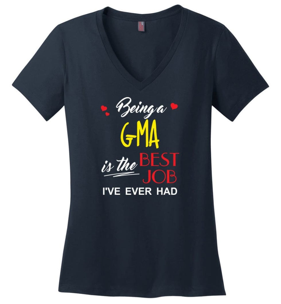 Being A G ma Is The Best Job Gift For Grandparents Ladies V-Neck - Navy / M