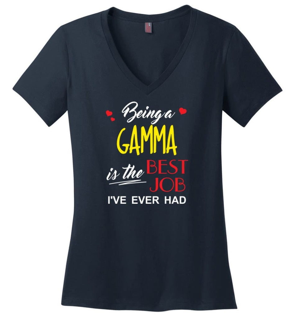 Being A Gamma Is The Best Job Gift For Grandparents Ladies V-Neck - Navy / M