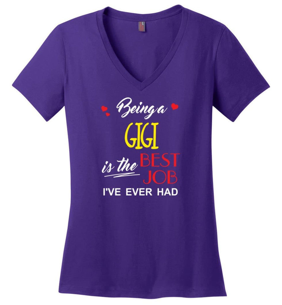 Being A Gigi Is The Best Job Gift For Grandparents Ladies V-Neck - Purple / M