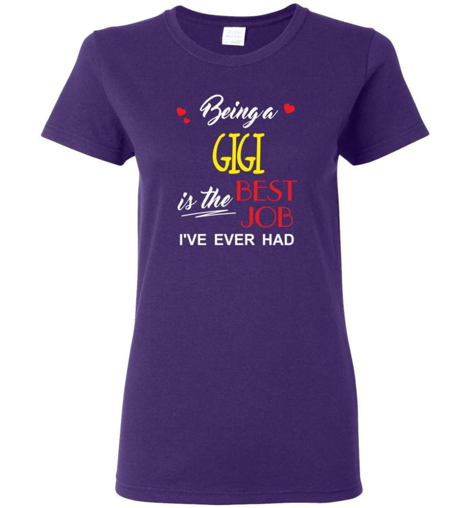 Being A Gigi Is The Best Job Gift For Grandparents Women Tee - Purple / M