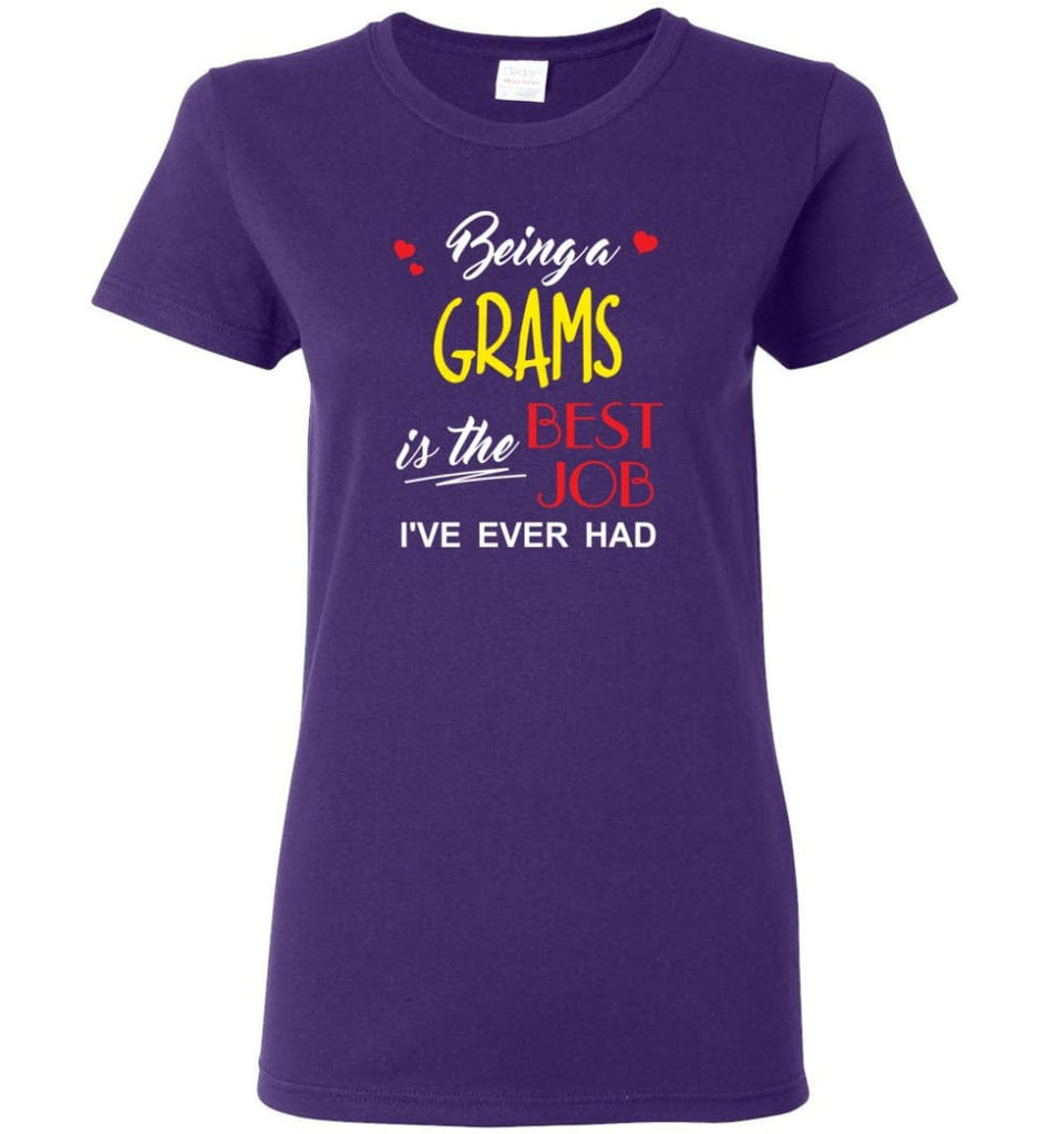 Being A Grams Is The Best Job Gift For Grandparents Women Tee - Purple / M