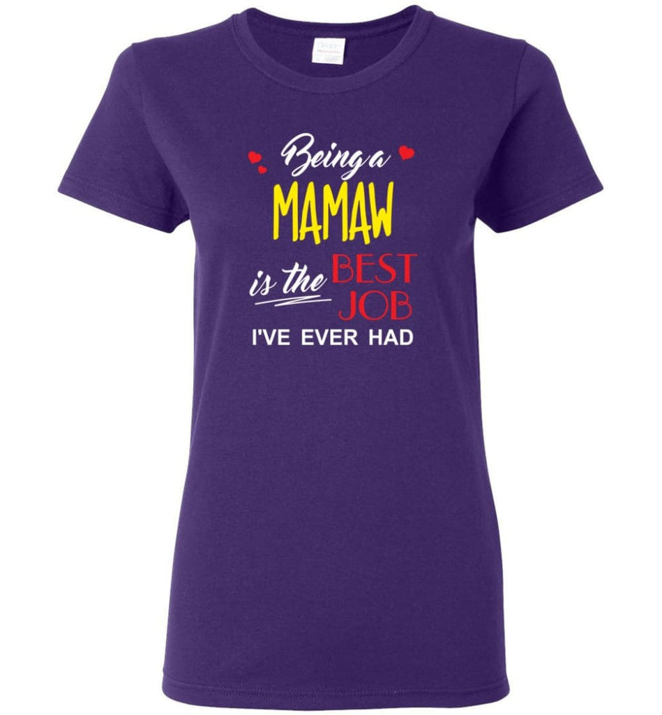 Being A Mamaw Is The Best Job Gift For Grandparents Women Tee - Purple / M