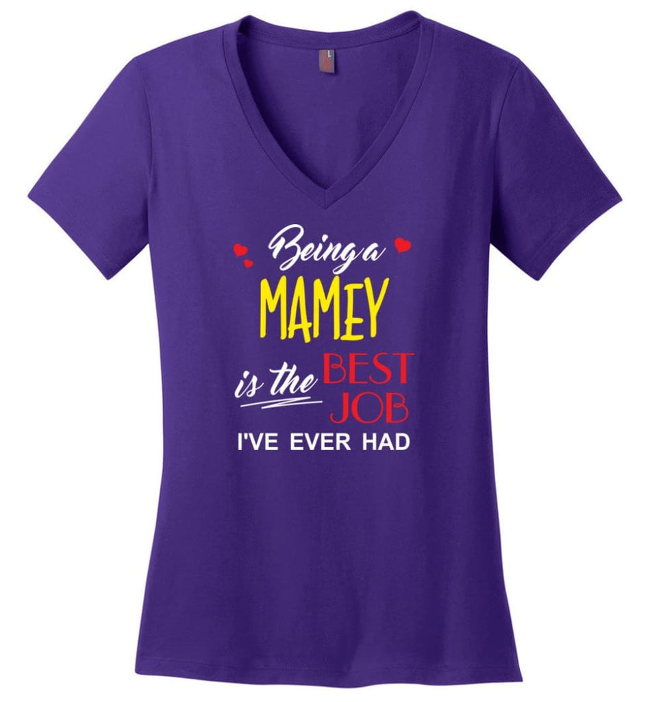 Being A Mamey Is The Best Job Gift For Grandparents Ladies V-Neck - Purple / M