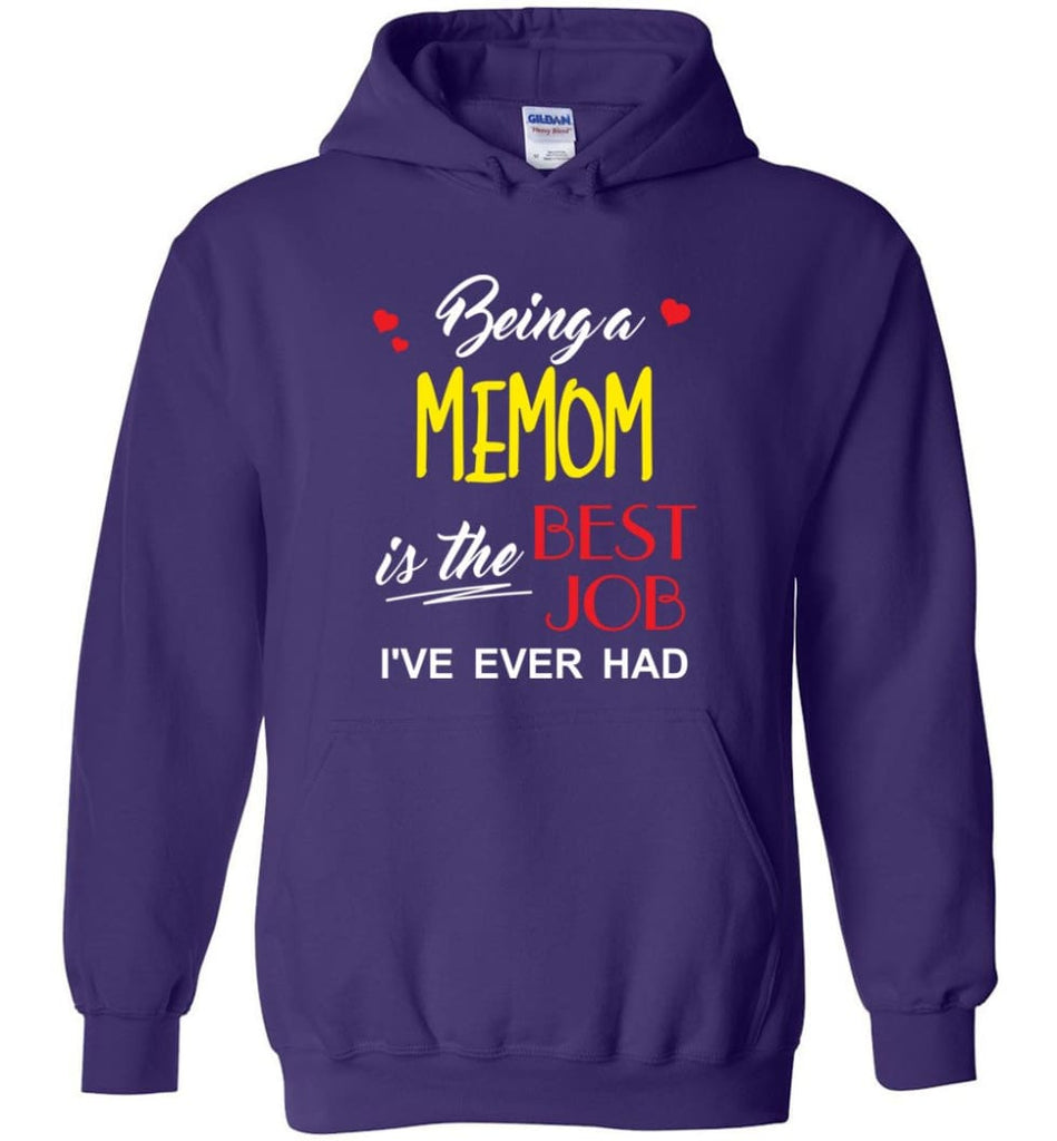 Being A Memom Is The Best Job Gift For Grandparents Hoodie - Purple / M