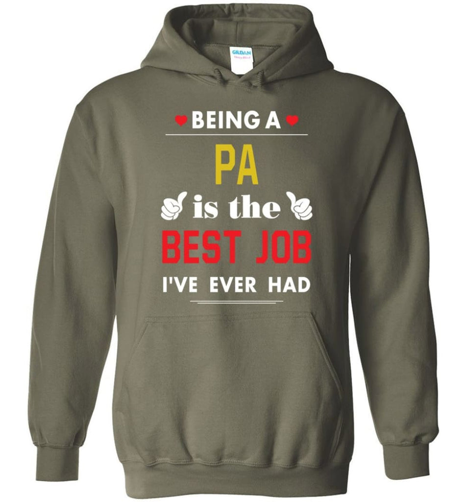 Being A Pa Is The Best Job Gift For Grandparents Hoodie - Military Green / M