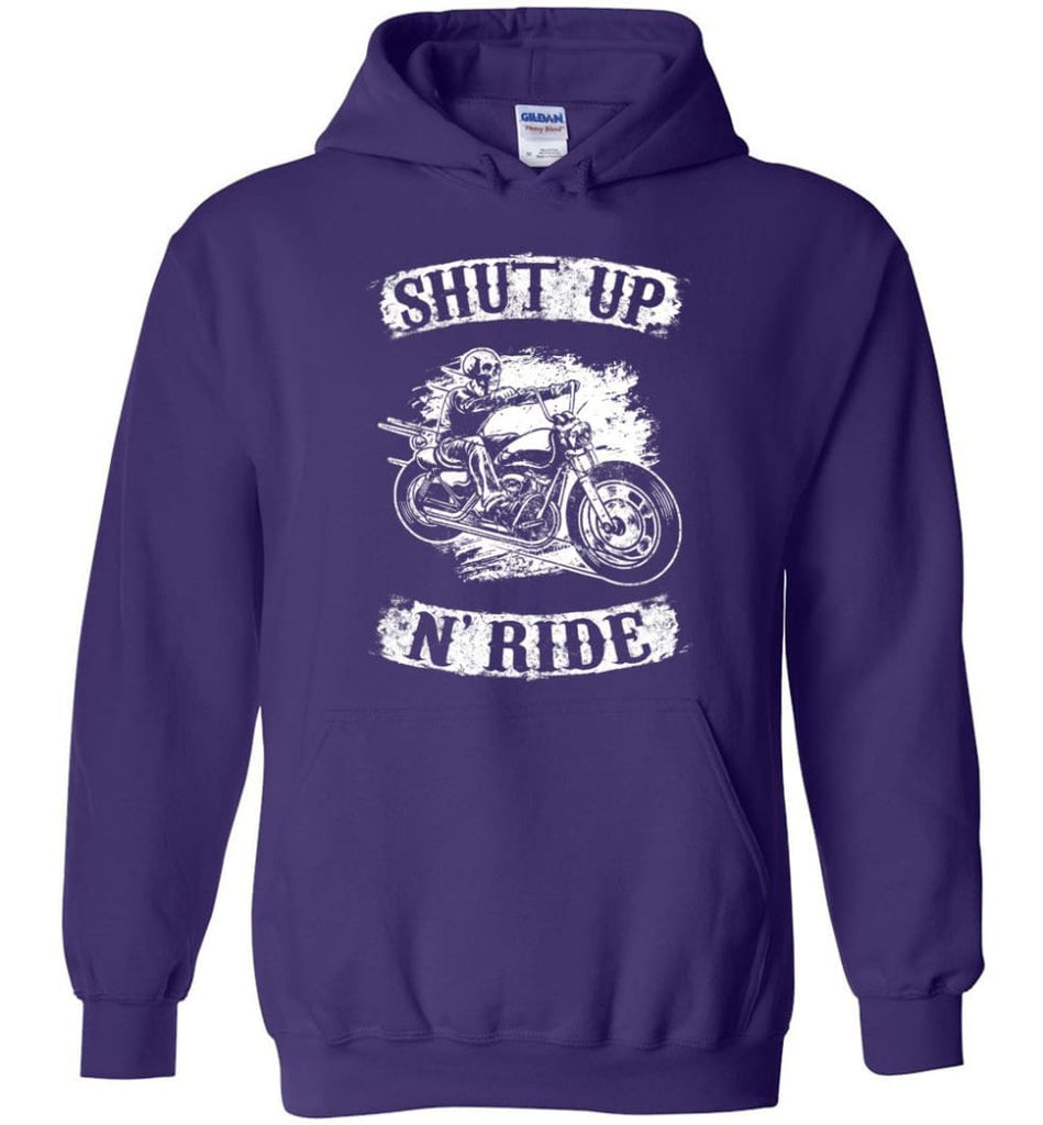 Best Biker Shirt Shut Up N'ride Hoodie - Purple / M