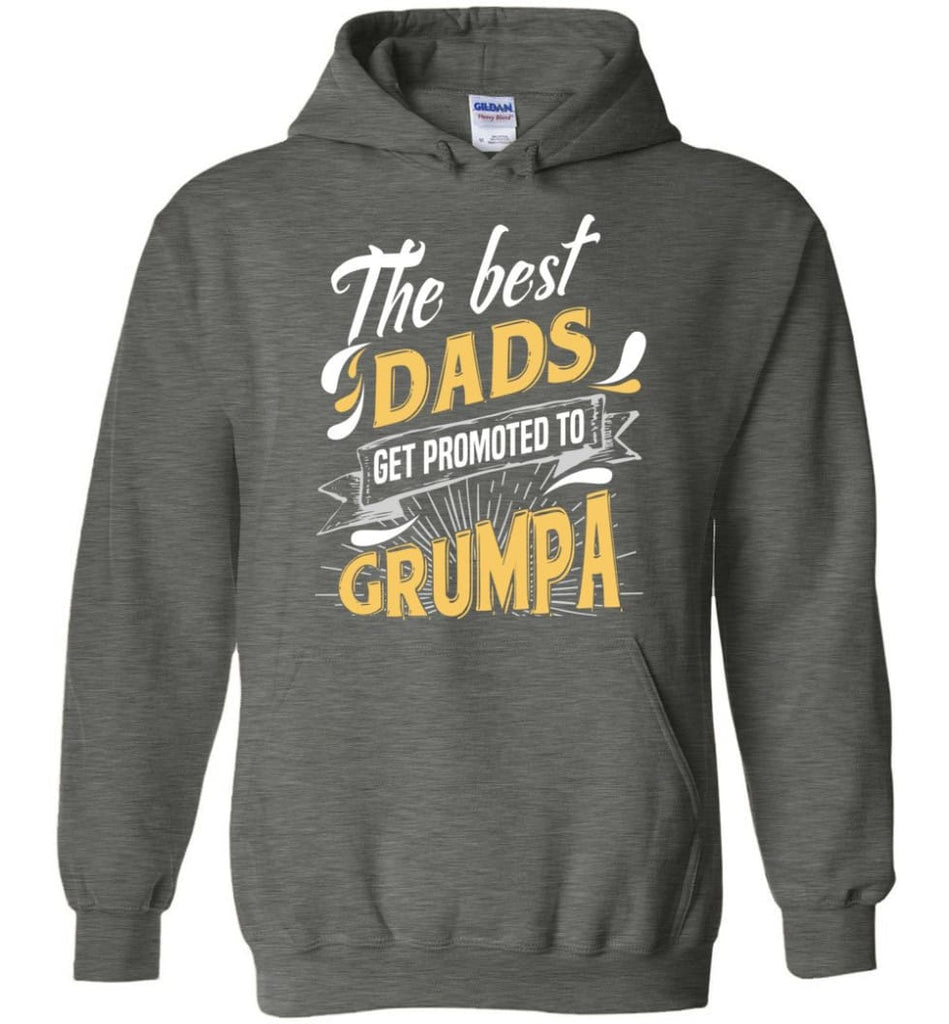 Best Dads Get Promoted To Grumpa Christmas Gift for Grandpa Hoodie - Dark Heather / M