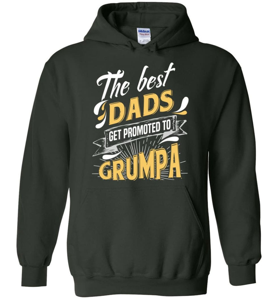 Best Dads Get Promoted To Grumpa Christmas Gift for Grandpa Hoodie - Forest Green / M