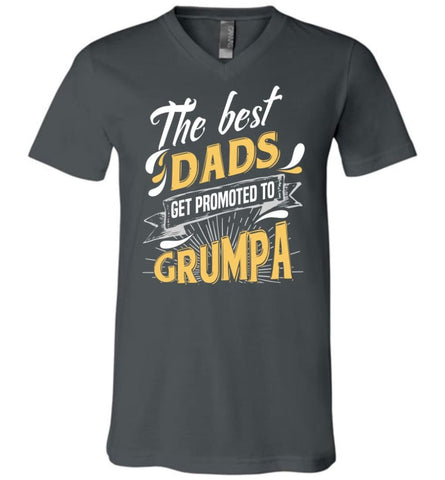 Best Dads Get Promoted To Grumpa Christmas Gift for Mens V-neck - Asphalt / S