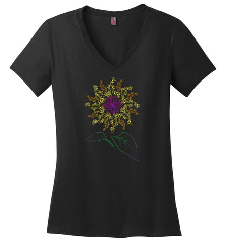Bicycle Sunflower Bike with a decor Sunflower print - Ladies V-Neck - Black / M - Ladies V-Neck