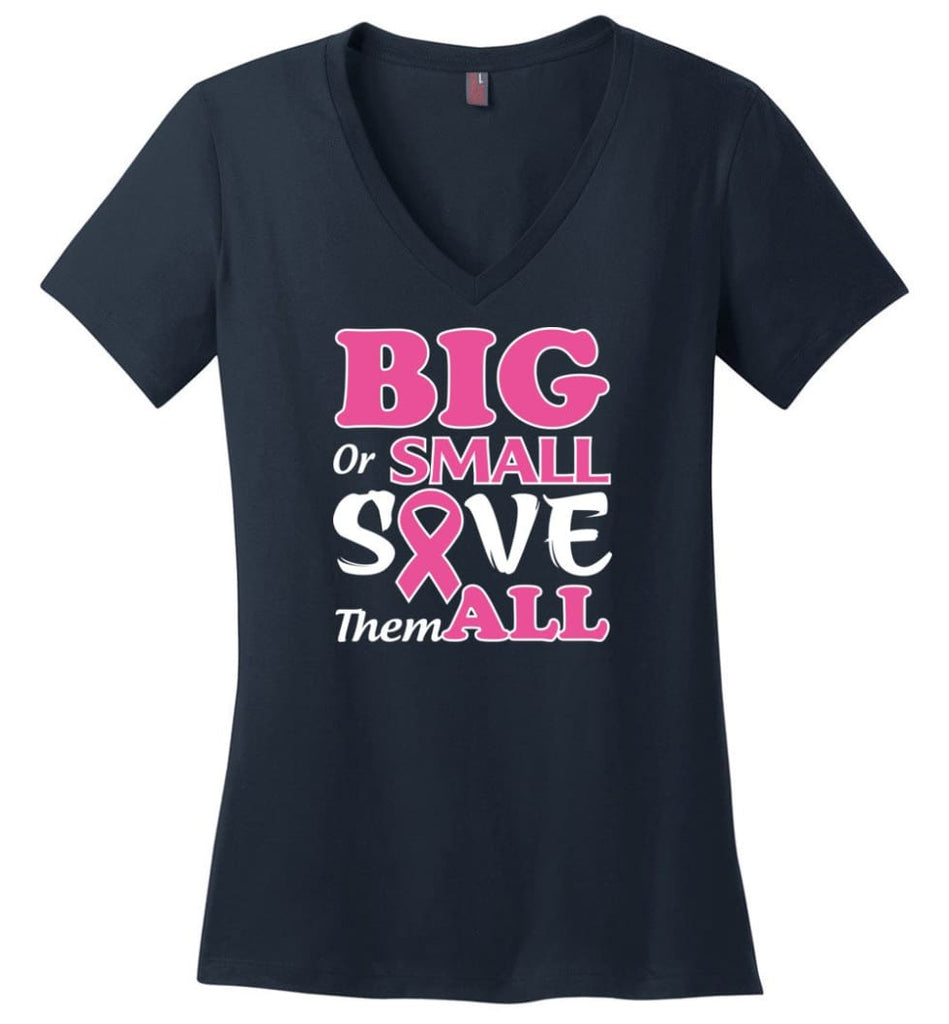 Big Or Small Save Them All Ladies V-Neck - Navy / M