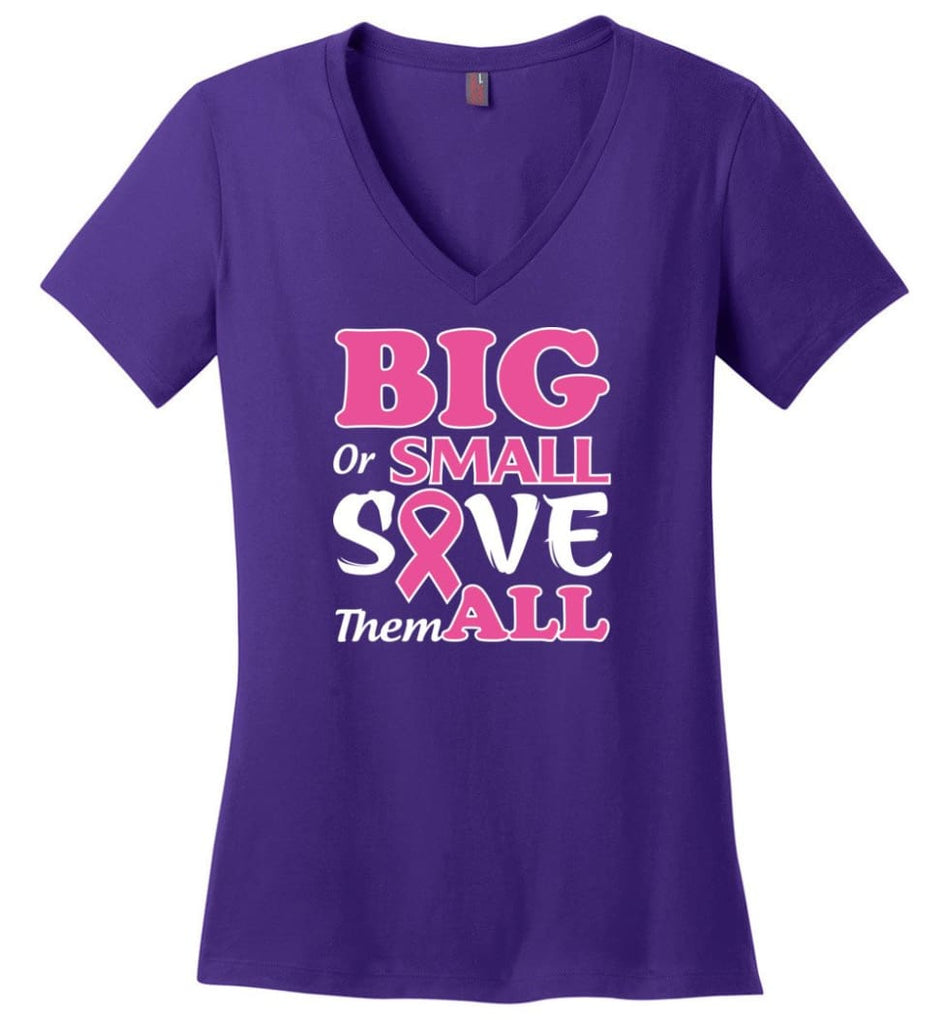 Big Or Small Save Them All Ladies V-Neck - Purple / M