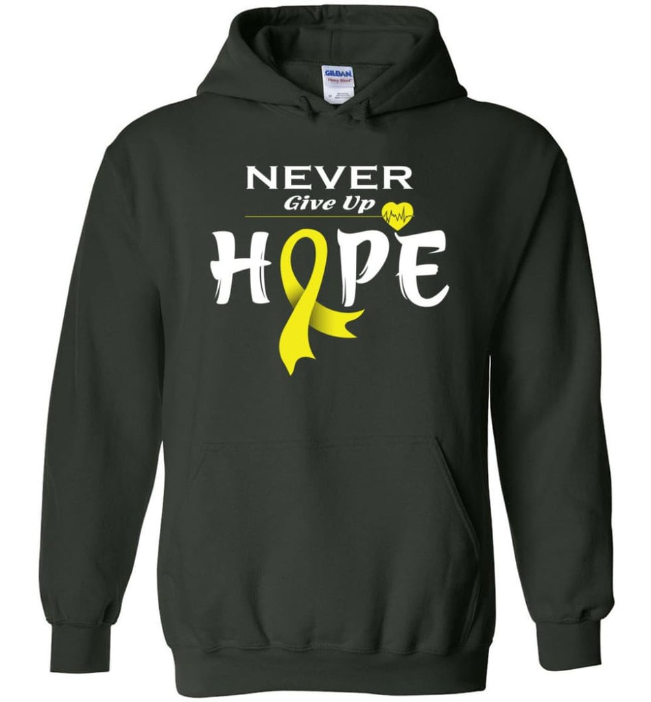 Bladder Cancer Awareness Never Give Up Hope Hoodie - Forest Green / M
