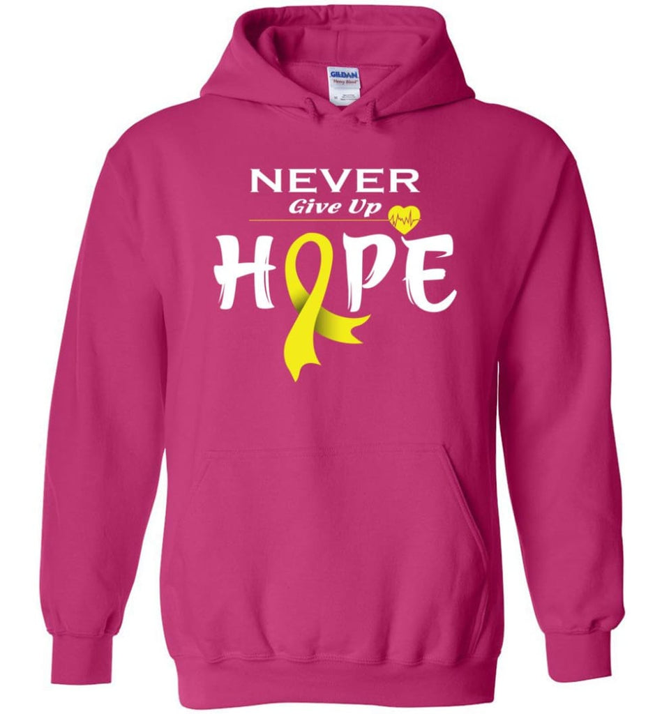 Bladder Cancer Awareness Never Give Up Hope Hoodie - Heliconia / M