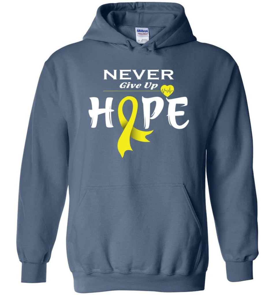 Bladder Cancer Awareness Never Give Up Hope Hoodie - Indigo Blue / M