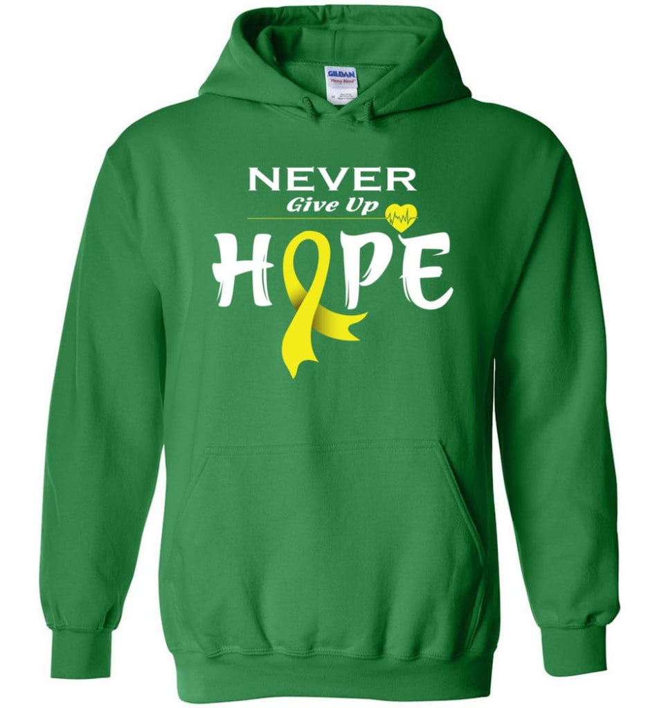 Bladder Cancer Awareness Never Give Up Hope Hoodie - Irish Green / M
