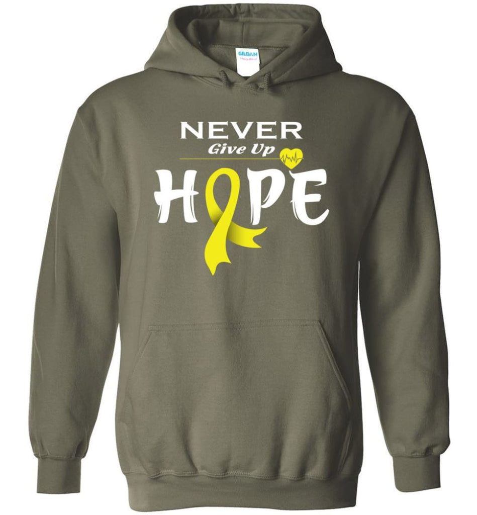 Bladder Cancer Awareness Never Give Up Hope Hoodie - Military Green / M