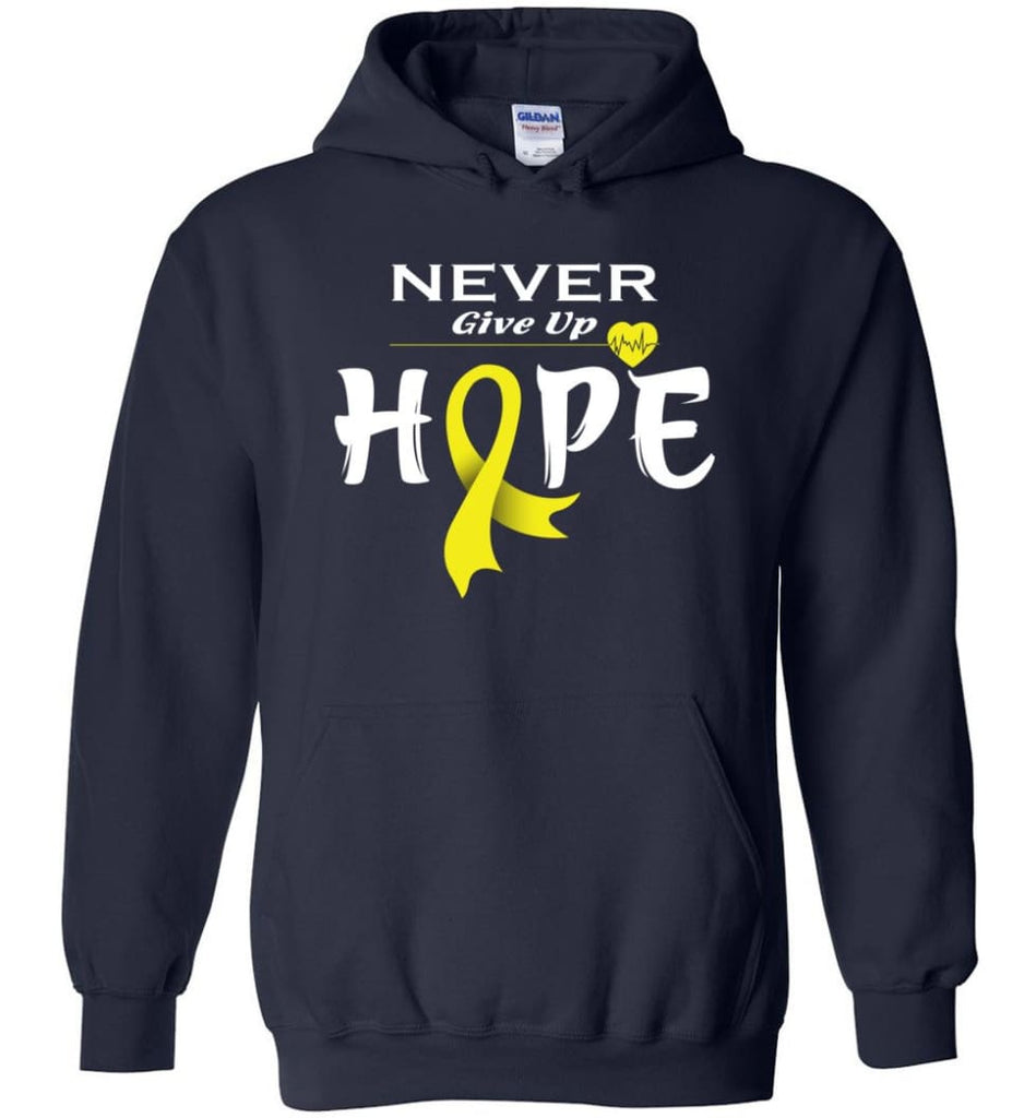 Bladder Cancer Awareness Never Give Up Hope Hoodie - Navy / M
