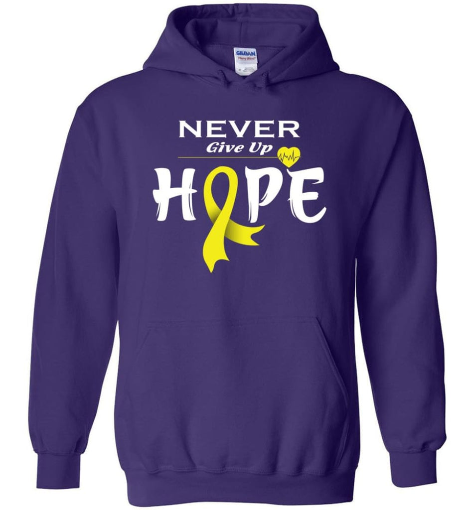 Bladder Cancer Awareness Never Give Up Hope Hoodie - Purple / M
