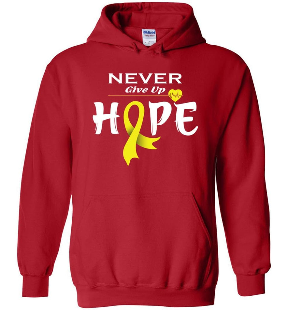Bladder Cancer Awareness Never Give Up Hope Hoodie - Red / M